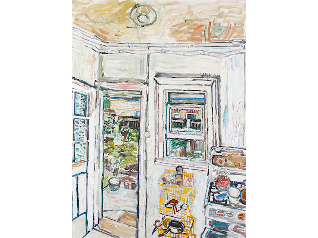 John Bratby R.A. (British, 1928-1992) Garden seen through kitchen window