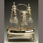 A silver mounted cruet frame makers mark rubbed, London 1790