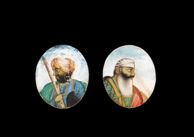 Two small Sikh portraits of Javala Singh and Sirdar Uttar Singh mid-19th Century(10)