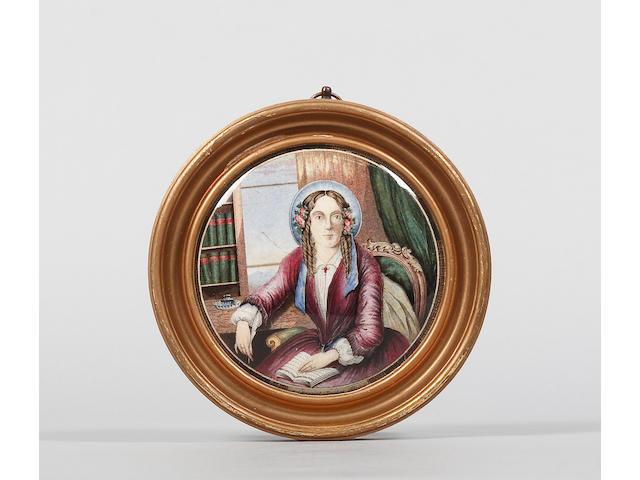 A potlid entitled Harriet Beecher Stowe