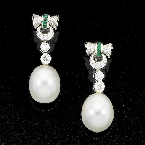 A pair of diamond, emerald and cultured pearl pendent earrings