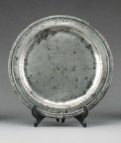A triple reeded narrow rim plate, circa 1690,