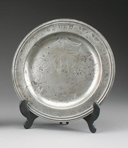 A wrigglework triple reed marriage plate, circa 1690