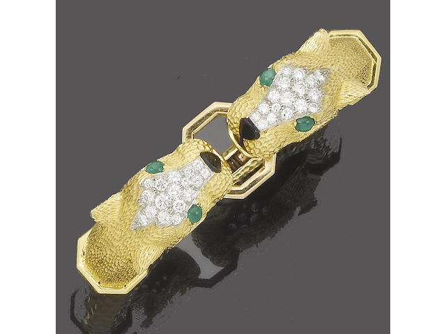 A gold, emerald, onyx and diamond bangle, by Kutchinsky,