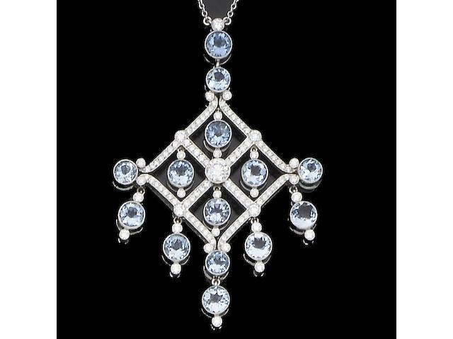 An aquamarine and diamond pendant necklace,