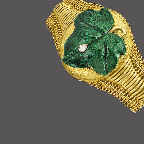 A mid 19th century gold, enamel and diamond locket/bracelet,