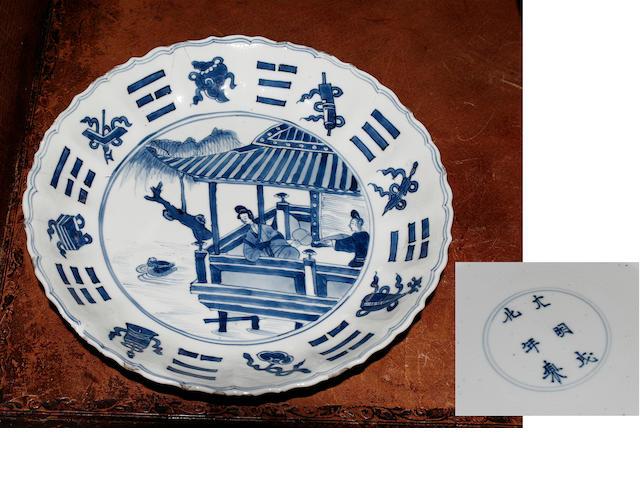 A Chinese blue and white circular dish Kangxi