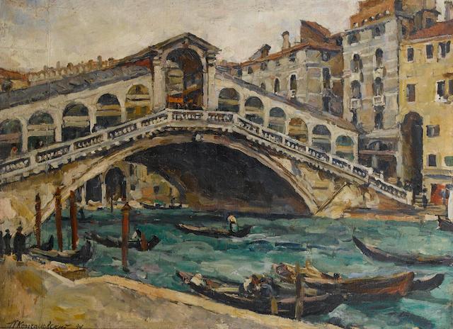 Petr Petrovich Konchalovsky (Russian, 1876-1956) 'Ponte Rialto', Venice