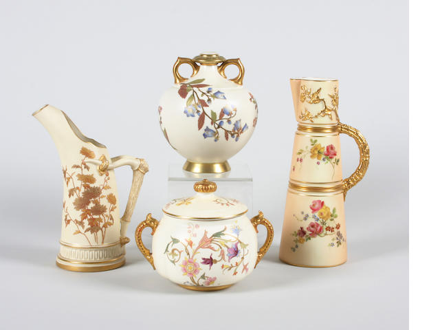 Two Royal Worcester jugs, a vase and a sucrier and cover