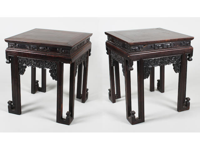 A pair of Chinese hardwood tables
