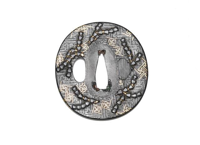 A ko-kinko shakudo tsuba Momoyama/early Edo Period