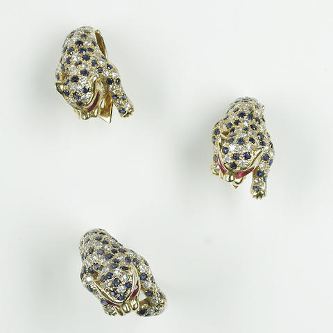 A diamond set spotted panther ring and earclip suite