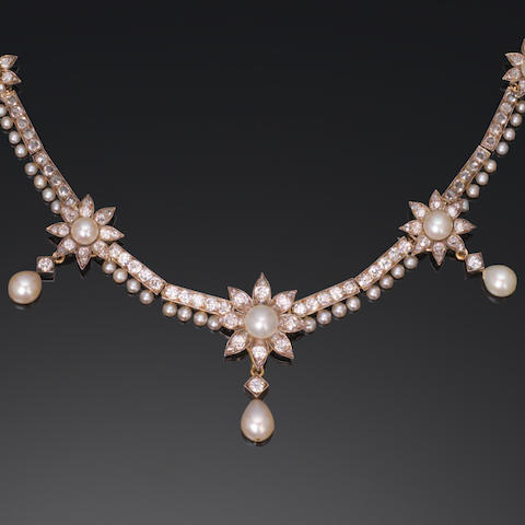 A late 19th century diamond and pearl necklace,