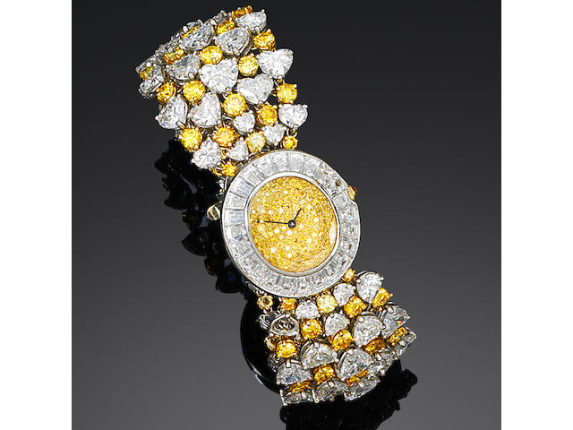 A diamond-set wristwatch, by David Morris