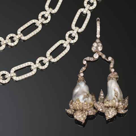 An art deco diamond sautoir necklace, circa 1920