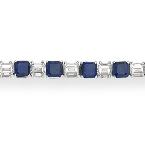 A sapphire and diamond line bracelet