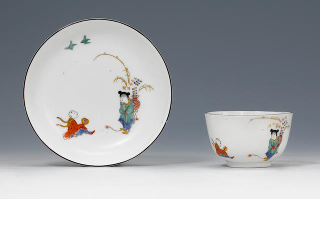A very rare large Meissen teabowl and saucer circa 1730