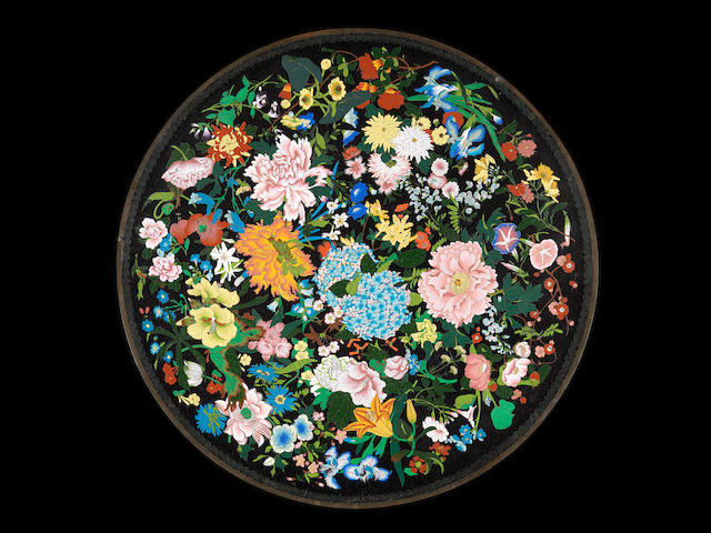 An exceptionally large cloisonné dish By Hayashi Kodenji I (1831-1915), late Meiji Period