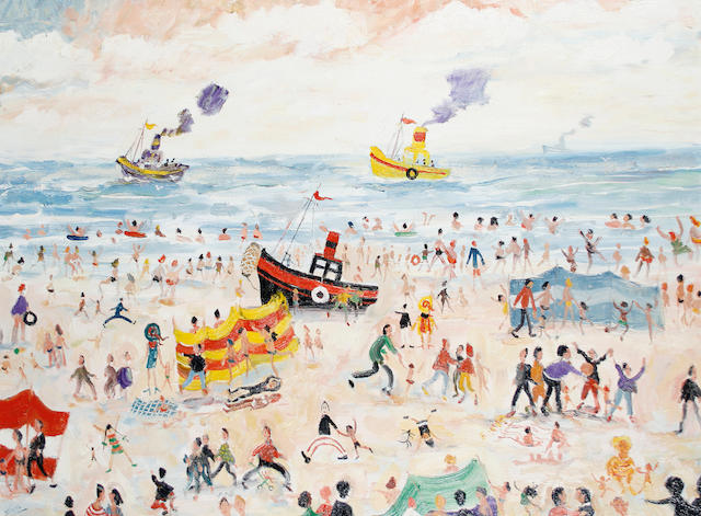 Simeon Stafford (British, born 1956) Tug boats off the beach