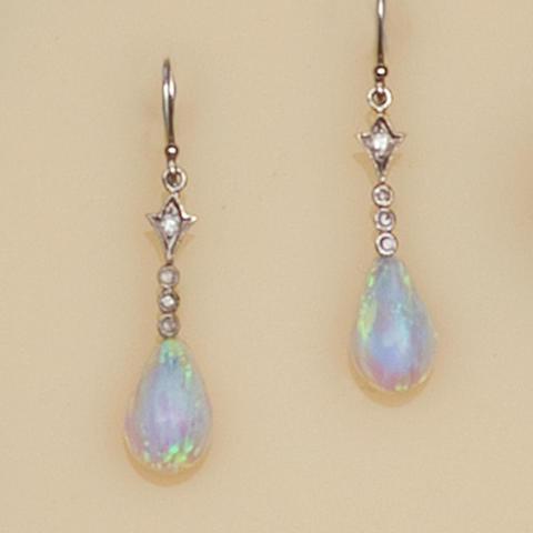 A pair of modern opal earpendants