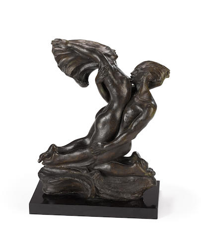 Barbara Tribe (Australian, 1913-2000) Lovers 1, 1936-37 (including base)  (Illustrated in 'Barbara Tribe, Sculptor' by Patricia R.McDonald, page 79)