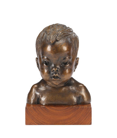 Barbara Tribe (Australian, 1913-2000) Yodkwan, aged 5 months 26cm (10 1/4in)(height, including wooden base)  (Illustrated in 'Barbara Tribe, Sculptor' by Patricia R.McDonald, page 146)