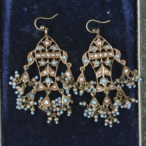 A pair of turquoise and pearl pendent earrings
