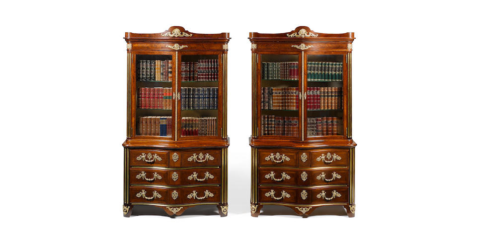 An important pair of kingwood and gilt bronze mounted cabinets by Gillows