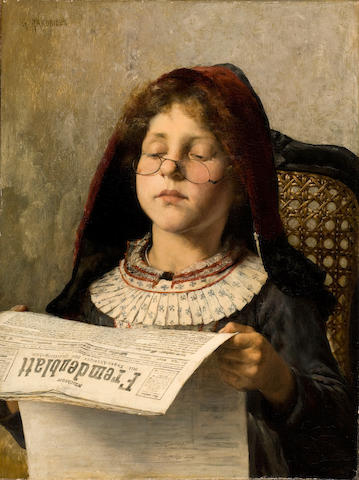 Georgios Jakobides (Greek, 1852-1932) Girl reading 53 x 40 cm.