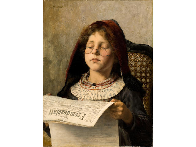 Georgios Jakobides (Greek, 1852-1932) Girl reading 53 x 40 cm.