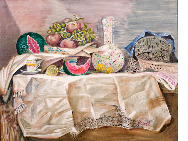 Nikos Hadjikyriakos-Ghika (Greek, 1906-1994) Summer table 72 x 92 cm.