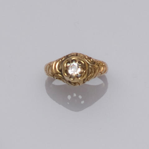 A Victorian gentleman's single stone diamond ring