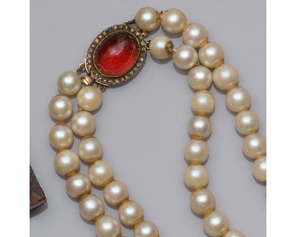 A two row uniform cultured pearl necklace
