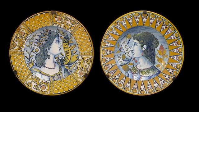 Two Deruta-style 'bella donna' chargers circa 1860-80