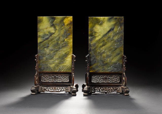 A pair of spinach jade rectangular table screens 19th century