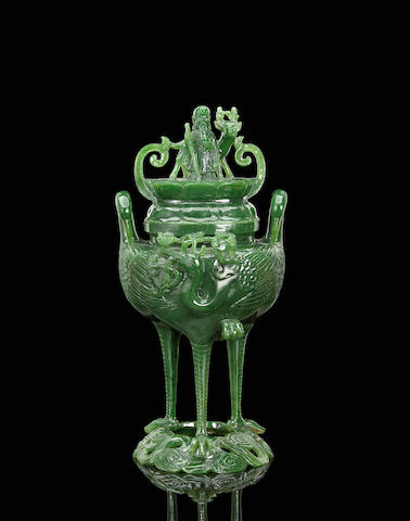 A Chinese spinch jade covered vase with shoulao and deer decoration