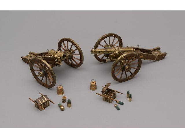 A Fine Set Of Two Brass Model Cannons