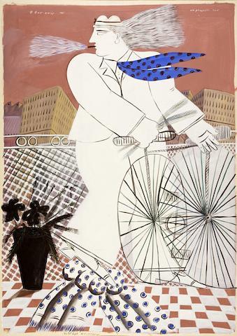 Alecos Fassianos (Greek, born 1935) At his balcony 214 x 151 cm.