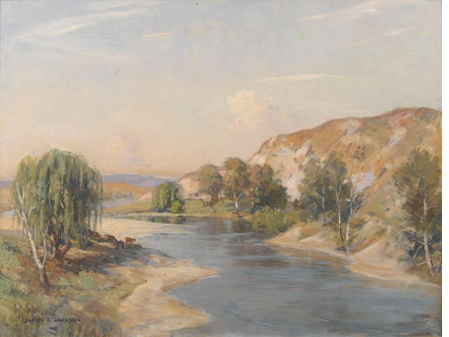 James Ranalph Jackson (Australian, 1882-1975) Australian riverscape with cattle
