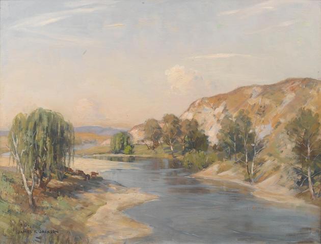 James Ranalph Jackson (Australian, 1882-1975) Australian riverscape with cattle