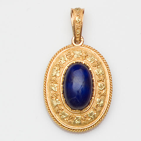 A French 'Swiss lapis' pendant