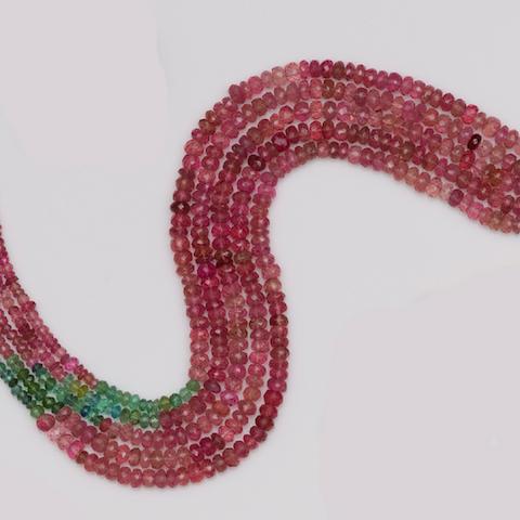 A five row tourmaline bead necklace