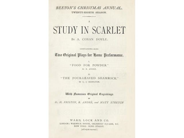 DOYLE (ARTHUR CONAN) A Study in Scarlet... Containing also Two Original Plays for Home Performance [in Beeton's Christmas Annual. Twenty-Eighth Season], FIRST PRINTING OF THE FIRST SHERLOCK HOLMES STORY