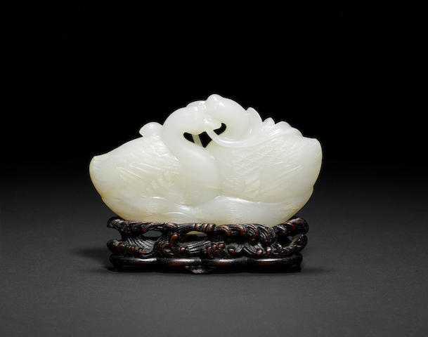 A very fine pale celadon jade carving of Two Ducks Qianlong