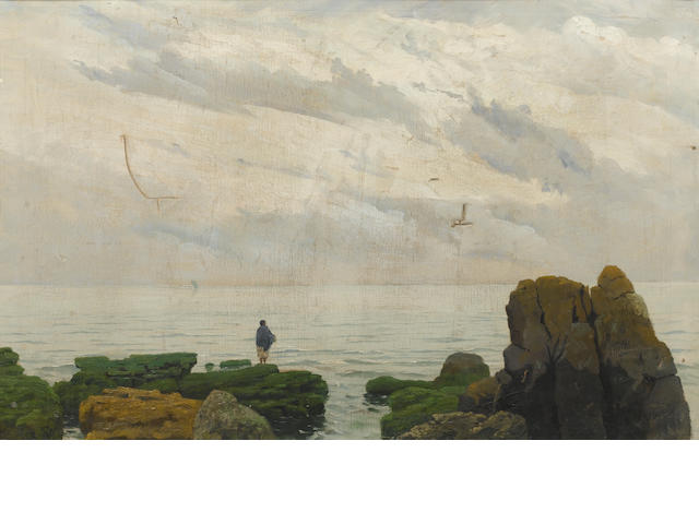Alberto Valenzuela Llanos (Chilean, circa 1869-1925) Figure on a rocky shore, near San Vicente, Chil