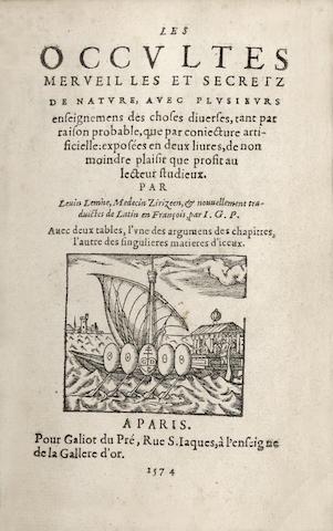 LEMNIUS (LEVINUS) Les occultes merveilles et secretz de nature, avec plusieurs enseignmens des choses diverses