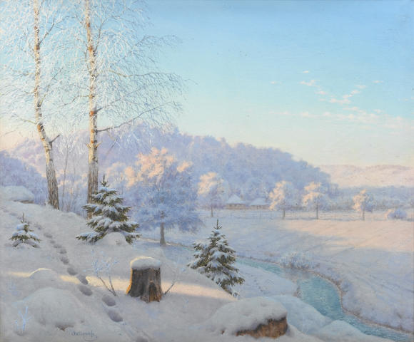 E Bessanoff - Snow covered Russian landscape - oil painting