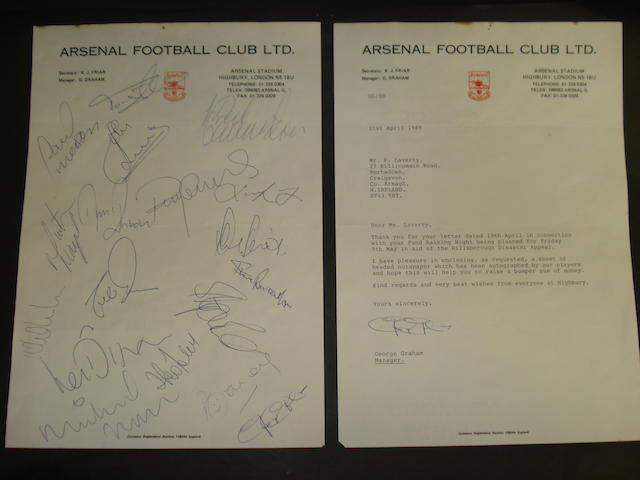 Arsenal 1989 autographed sheet