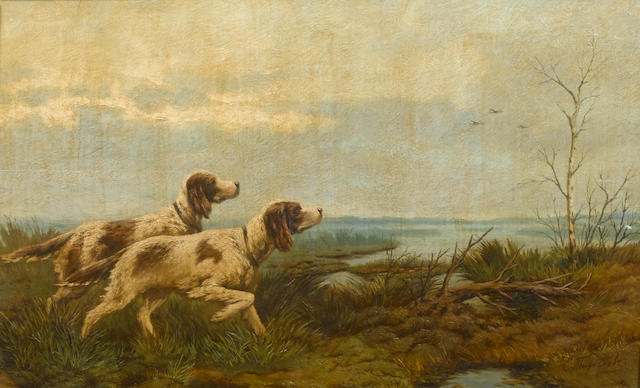 Efim  Tikhmenev (Russian, 1869-1934) English setters on point
