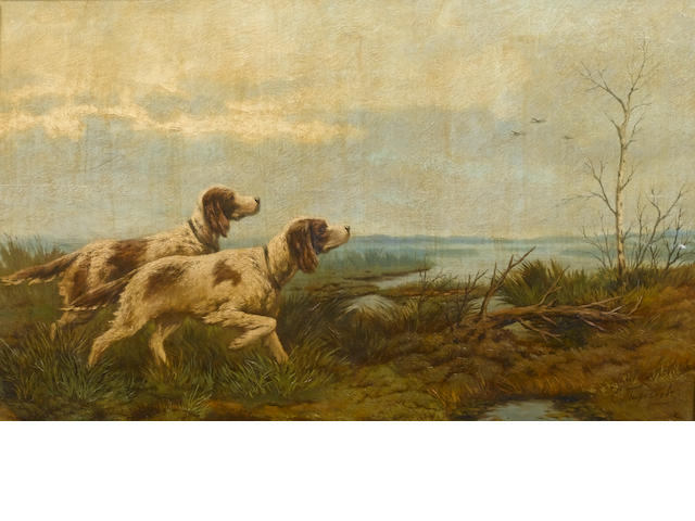Efim  Tikhmenev (Russian, 1869-1934) English setters on point 28.4 x 46 cm. (11 1/4 x 18 in.)